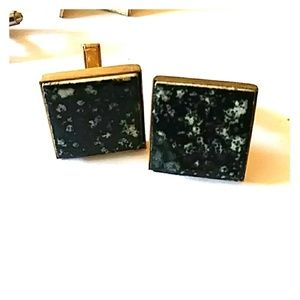 Men's Vintage Black Marbled Tile Cuff Links
